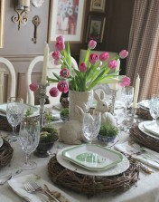 pottery barn inspired easter table via the painted chandelier