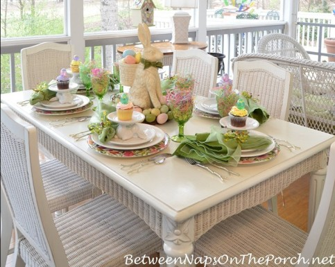 spring table setting with easter bunny via between naps on the porch