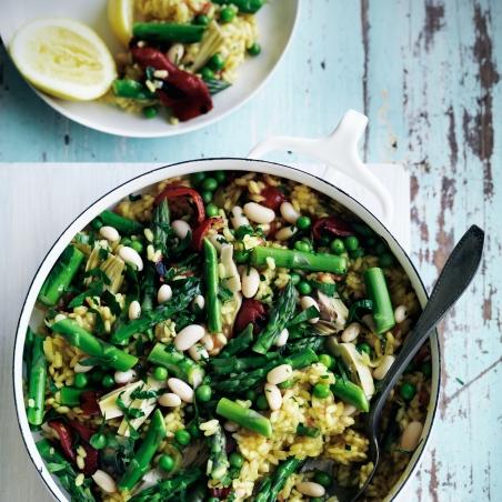 spring vegetable* paella via food & wine