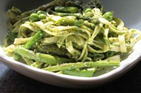 vegan pesto pasta with spring vegetables via evegan recipes