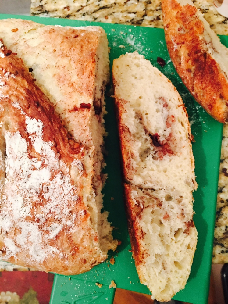 no knead - sliced cinnamon cranberry pecan bread via king arthur flour