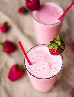 strawberry protein shake via a sweet pea chef