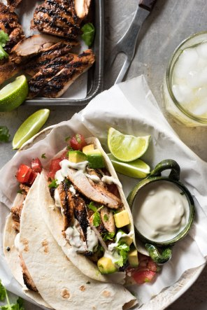 marinated grilled chicken tacos via recipe tin eats