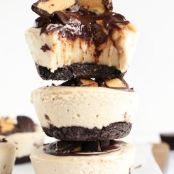 no bake vegan peanut butter cheesecakes via minimalist baker