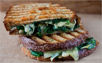 panini w/artichoke hearts, spinach and red peppers via nytimes cooking