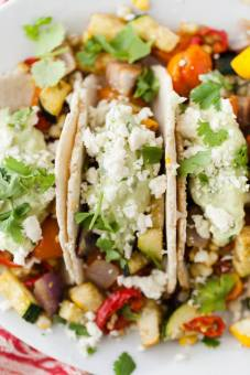roasted vegetarian tacos with avocado cream via naturally ella