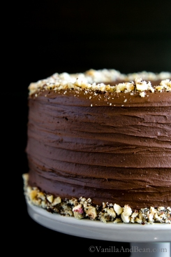 vegan chocolate hazelnut cake w/whipped ganache via vanilla and bean