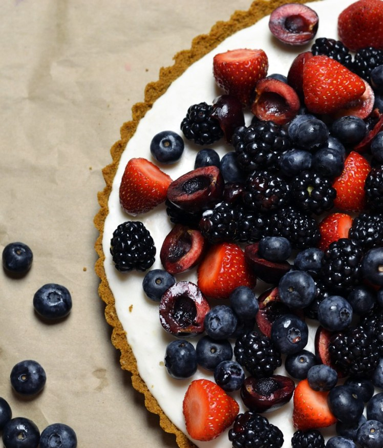 vegan lemon berry icebox tart via the earthen table