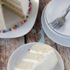 vegan vanilla birthday cake via cake merchant