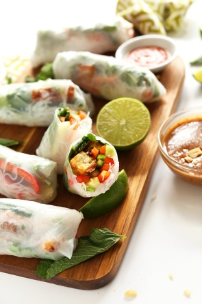 vietnamese spring rolls with crispy tofu via minimalist baker