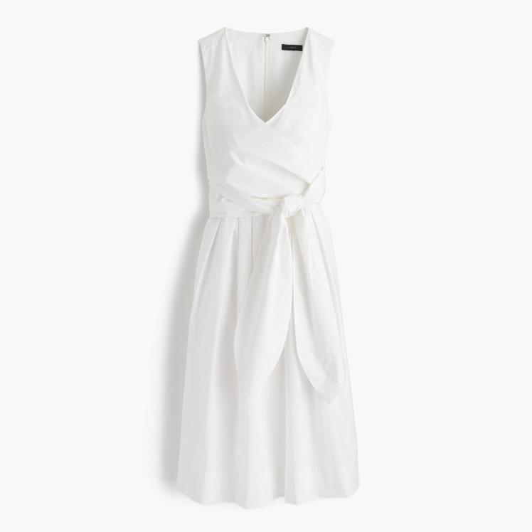 wrap dress in cotton poplin-white via j crew