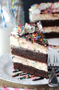 cake batter fudge brownie ice cream cake via life love and sugar
