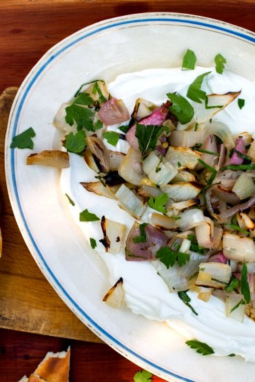 charred shallots with labneh via nytimes cooking melissa clark
