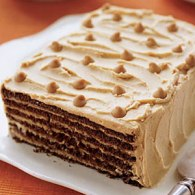 chocolate peanut butter refrigerator cake via womans day