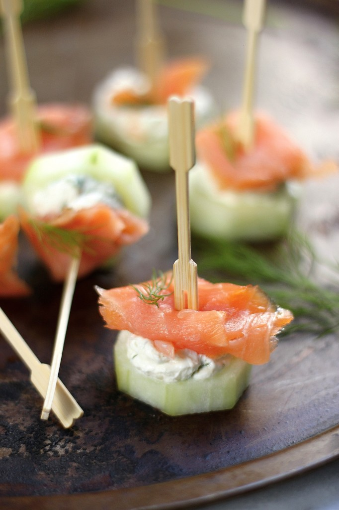 smoked salmon cucumber bites via baker by nature