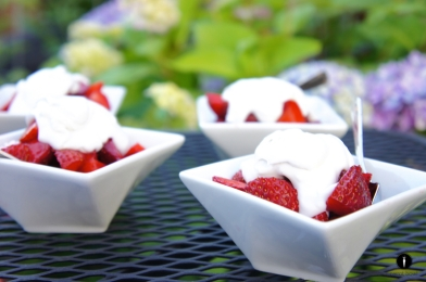 coconut cream and strawberries via carrot bowl