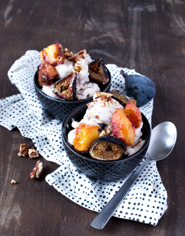 vegan coconut ice cream w-roasted peach-fig-pecan via sweet potato soul