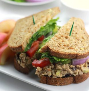 cranberry chickpea salad sandwich via the whole serving
