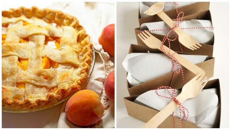 fresh peach pie via grandbaby cakes and pie boxes via etsy