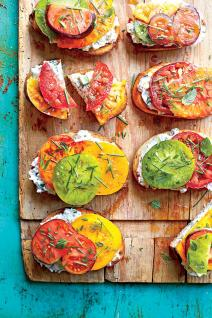 open faced tomato sandwiches w/creamy cucumber spread via southern living