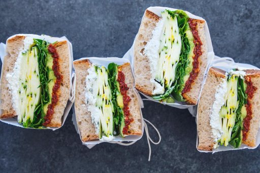 summer squash veggie sandwich with spicy sun dried tomato herbed ricotta via honestly yum