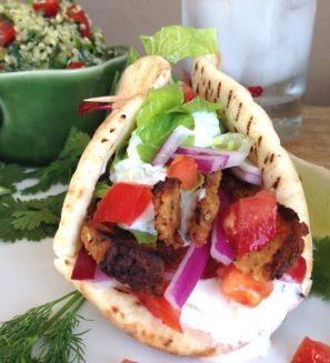 vegan gyro with homemade tzatziki sauce via delightful delicious delovely