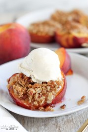 streusel stuffed peaches via celebrating sweets