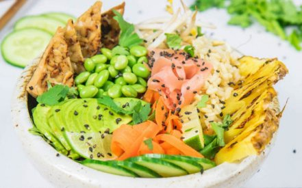 vegan ginger tempeh poke bowl via one green planet