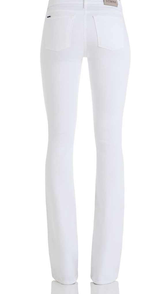 white strom tower flare jeans via deminology