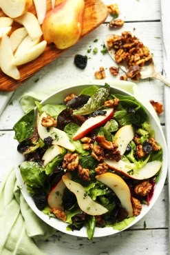 pear salad with dried cherries and walnuts via minimalist baker