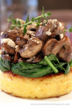 polenta-rounds-with-wilted-spinach-and-mushrooms-via-diary-of-a-ladybird