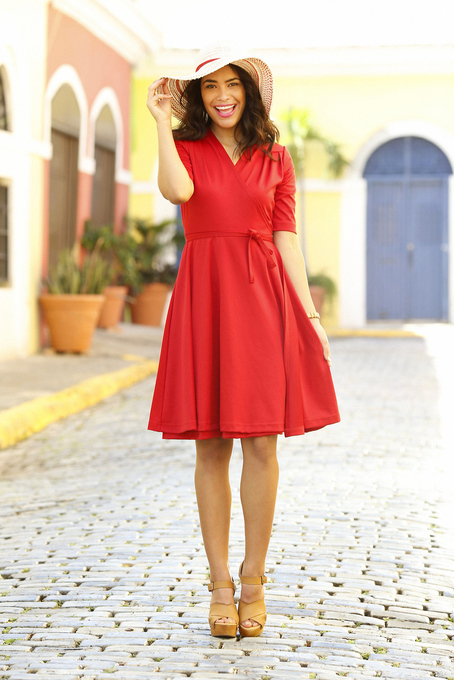 ali wrap red dress via shabby apple
