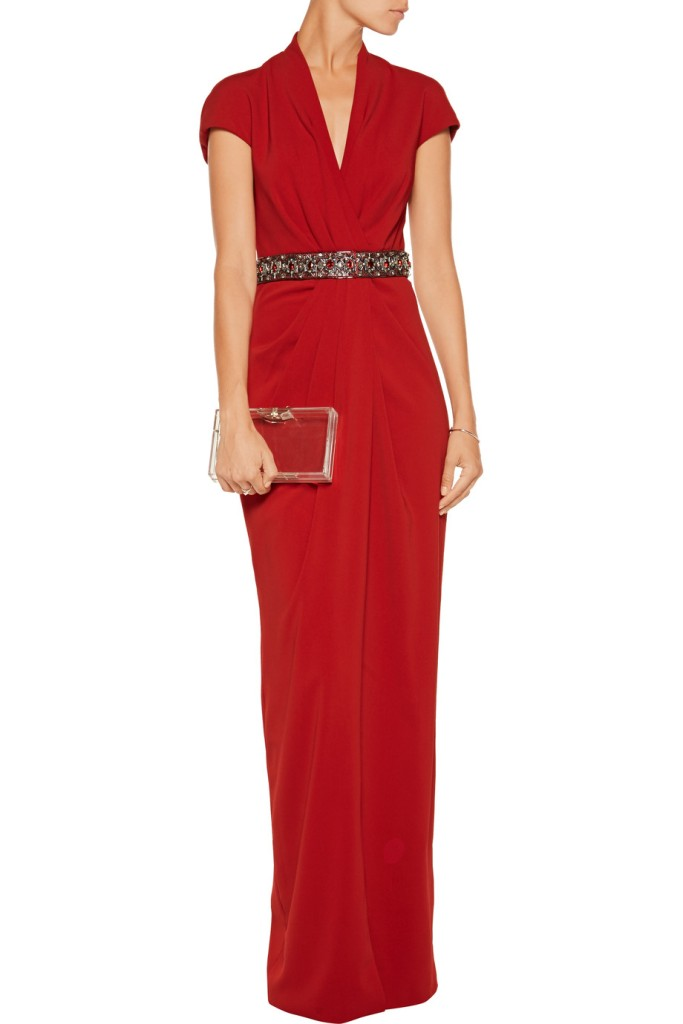 badgley mischka draped embellished crepe gown via the outnet