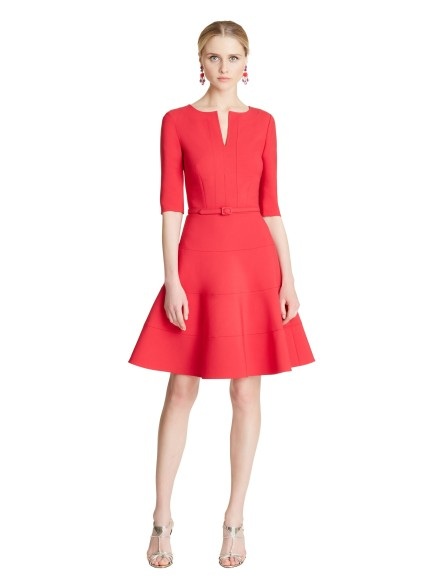 stretch-wool-3-4-sleeve-dress-via-oscar-de-la-renta