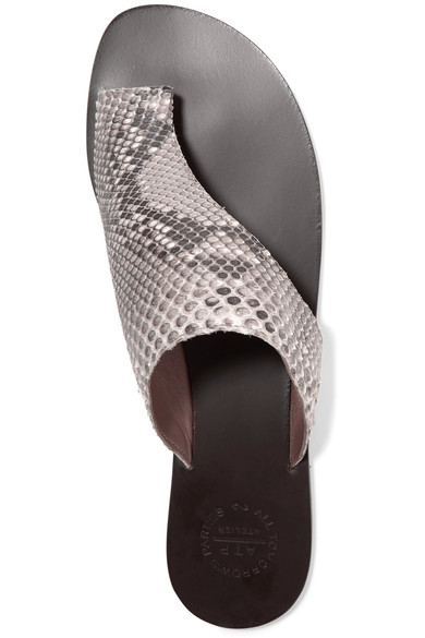 atp atelier rosa python sandals via net-a-porter