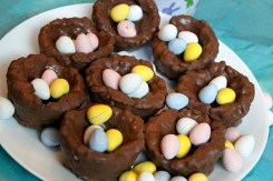 chocolate covered rice krispie easter nests via the mommy mix