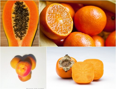 EatInColor Orange Foods Collage - images via pixabay and the sugarapple