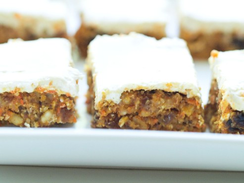 healthy no bake carrot cake bars via happy healthy mama