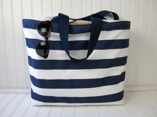 striped beach bag via etsy