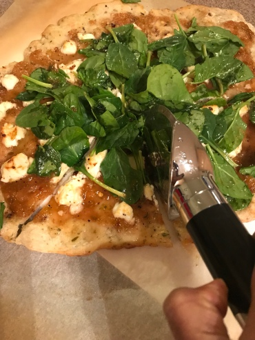 fig/goat cheese/spinach sourdough pizza
