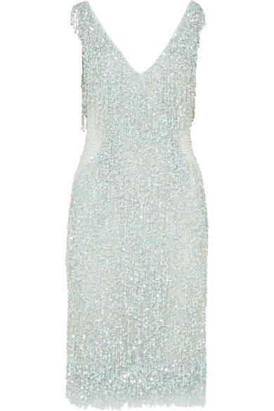 pale blue embellished shimmer dress by naeem khan via net-a-porter
