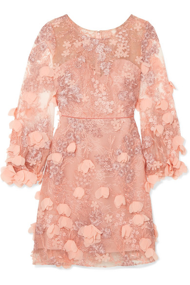 pink tulle dress by marchesa notte via net-a-porter